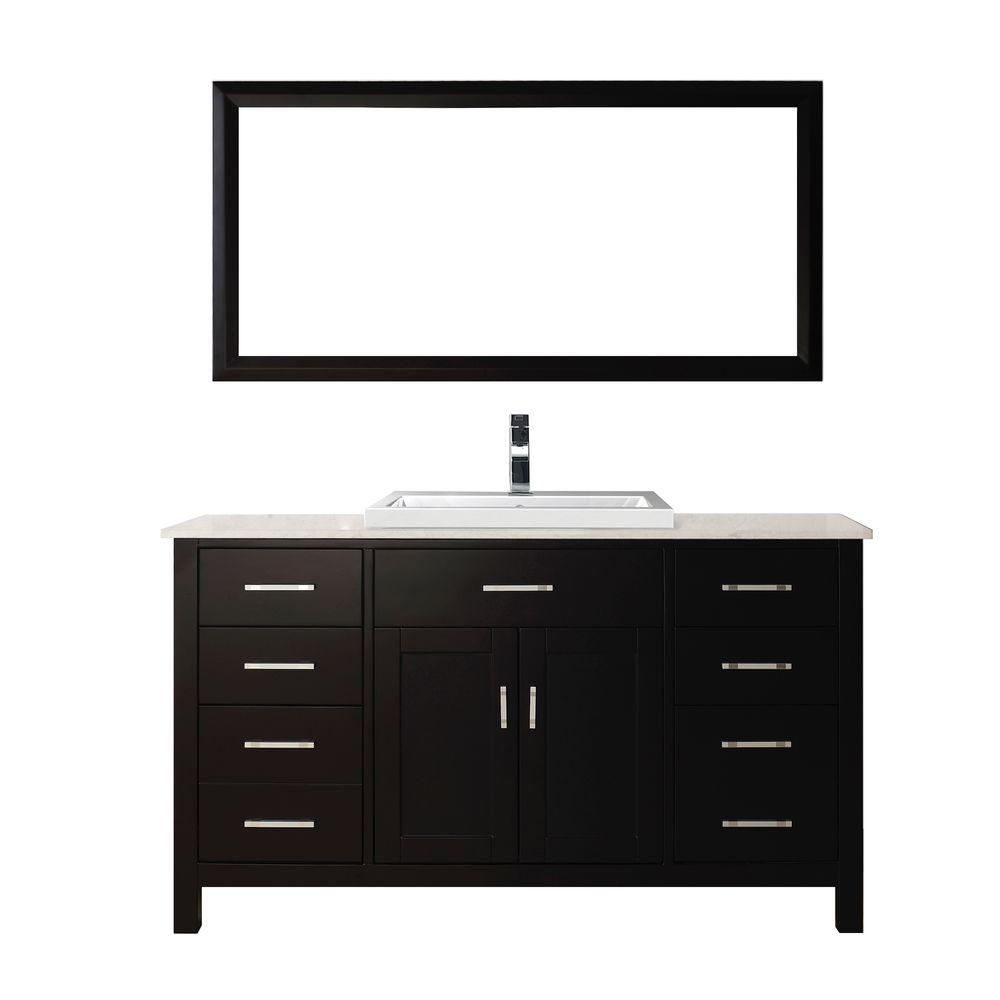 Studio Bathe Kelly 60 in. Vanity in Espresso with Solid Surface Marble Vanity Top in Carrara White and Mirror
