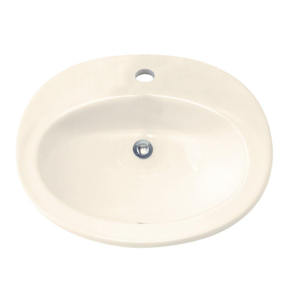 American Standard Piazza Countertop Bathroom Sink in Linen with Center Hole Only