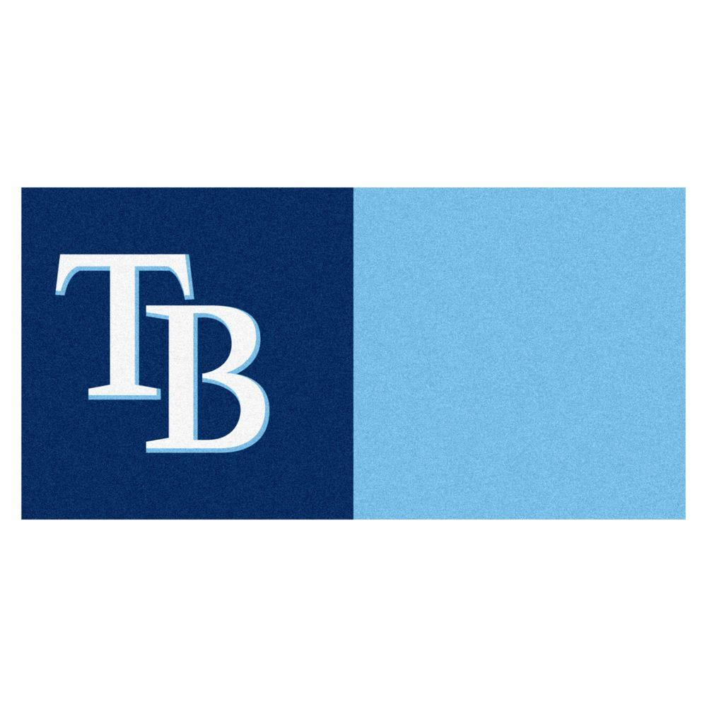 FANMATS MLB - Tampa Bay Rays Navy Blue and Blue Nylon 18 in. x 18 in. Carpet Tile (20 Tiles/Case)