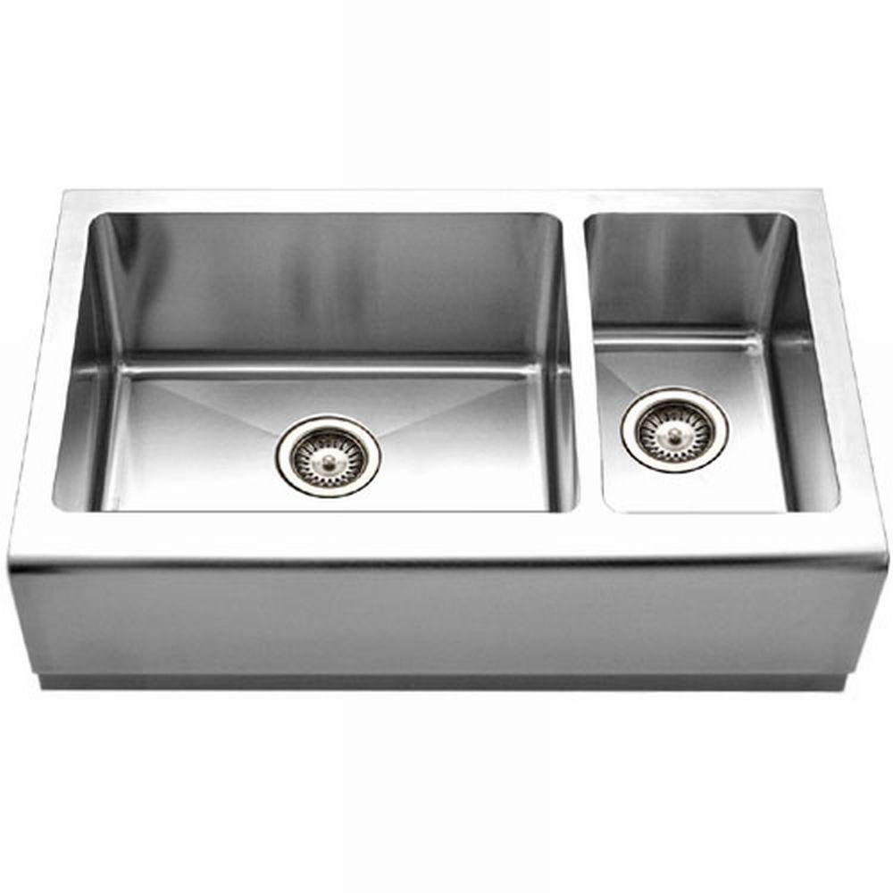 Double Bowl Apron Front Sink : ... Apron Front Stainless Steel 33 in. Double Bowl Kitchen Sink-EPO-3370SR