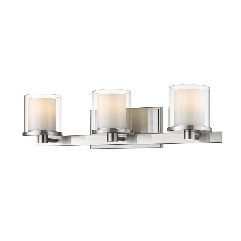 Mira 3-Light Brushed Nickel Bath Light with Clear and Matte Opal