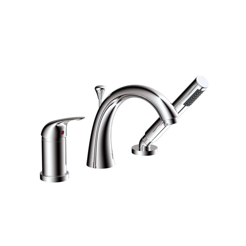 Idol Series 1-Handle Deck-Mount Roman Tub Faucet in Polished Chrome