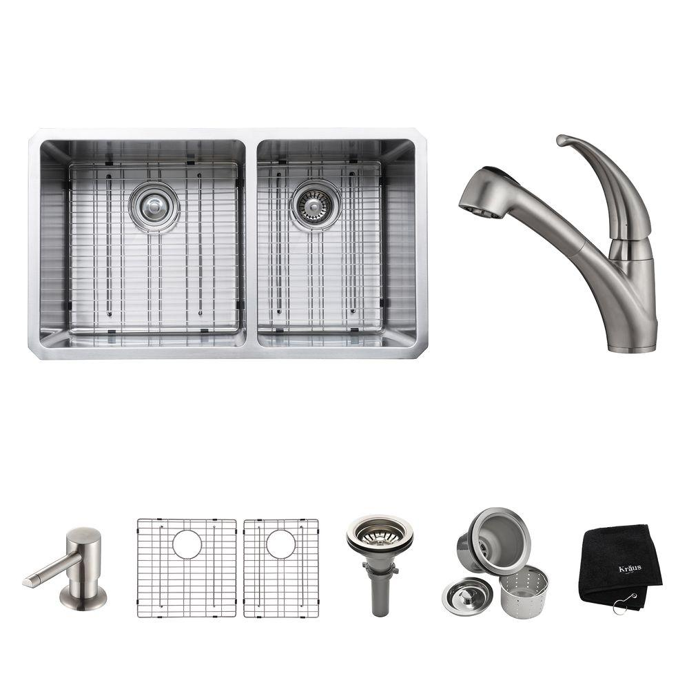 KRAUS All-in-One Undermount Stainless Steel 33 in. Double Bowl Kitchen Sink