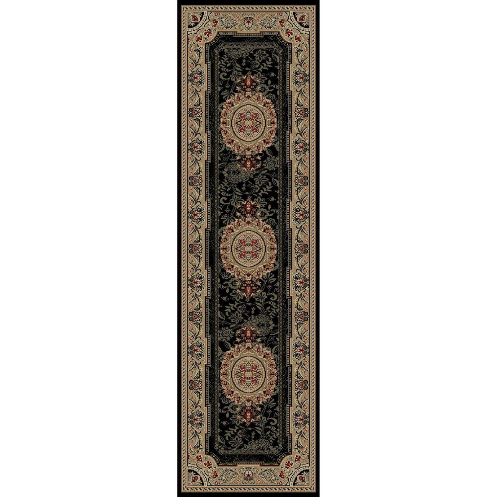 Concord Global Trading Ankara Chateau Black 2 ft. 2 in. x 7 ft. 3 in. Rug Runner