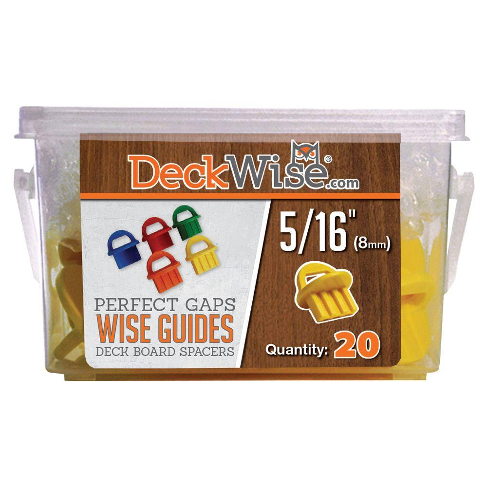 WiseGuides 5/16 in. Gap Deck Board Spacer for Hidden Deck Fasteners (20-Count), Yellow/Gold