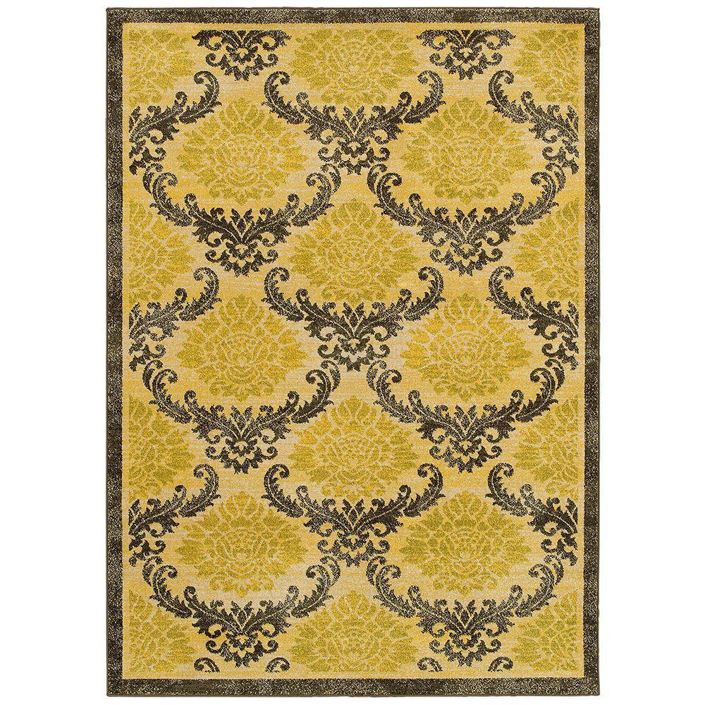 LR Resources Antigua Gold/Brown 8 ft. x 10 ft. Plush Indoor Area Rug