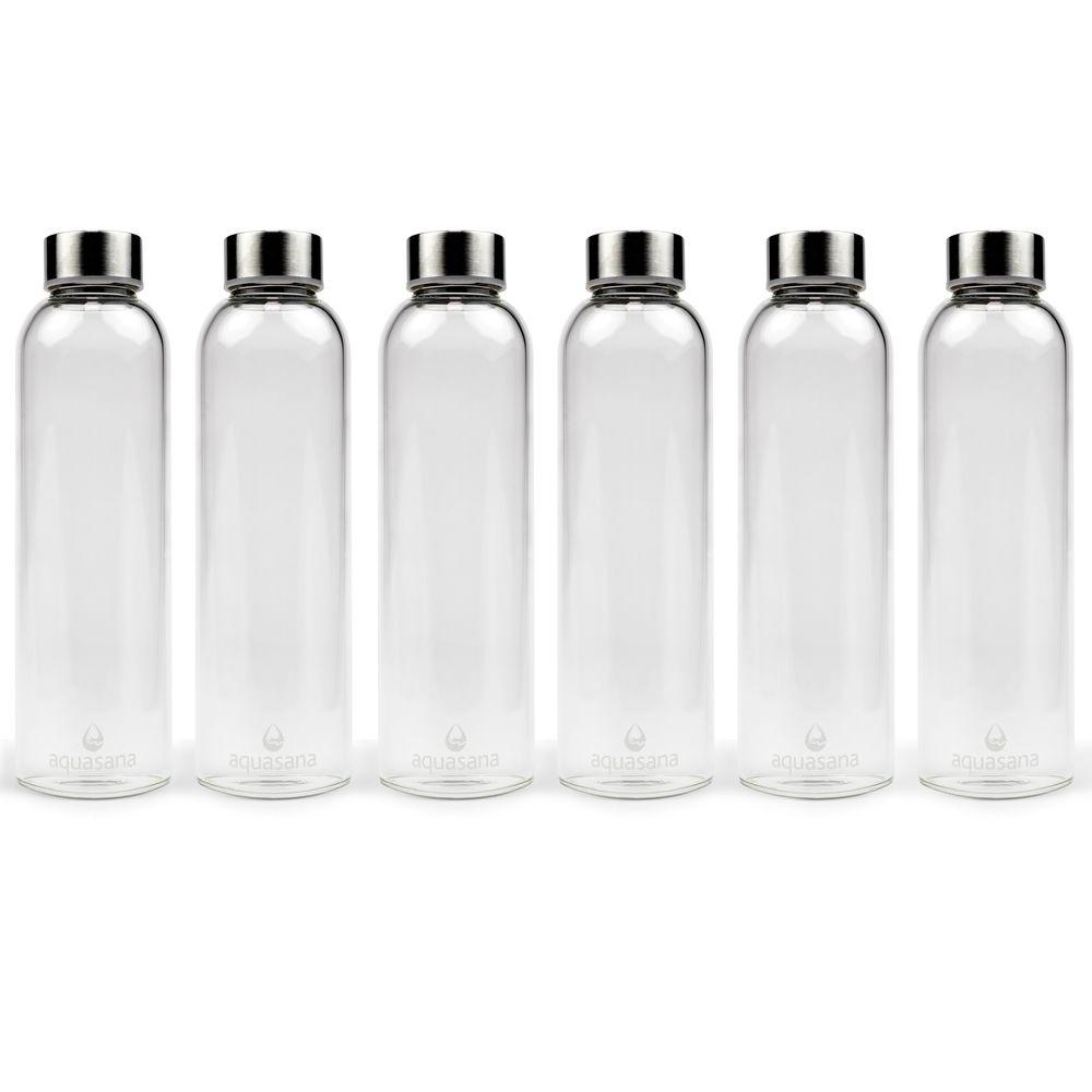 aquasana 18 5 oz water bottles premium borosilicate glass 6 pack thd wb 6 the home depot. Black Bedroom Furniture Sets. Home Design Ideas
