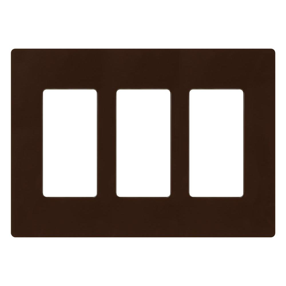 Lutron Claro 3-Gang Decora Wall Plate - Brown-CW-3-BR - The Home