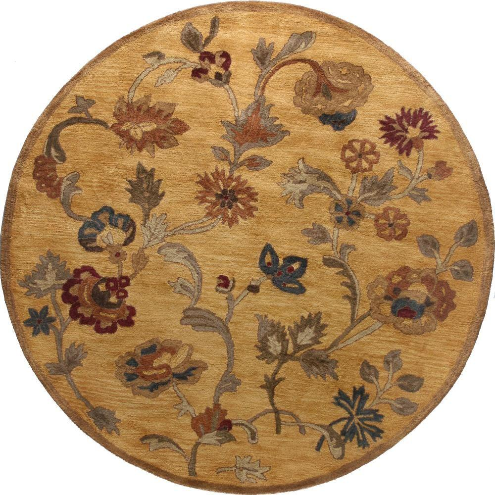 BASHIAN Wilshire Collection Floral Shower Gold 8 ft. Round Area Rug