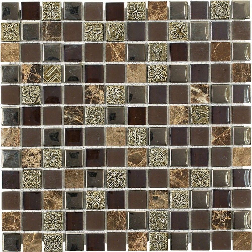 Splashback Tile Tapestry Pantheon 11-3/4 in. x 11-3/4 in. x 8 mm Marble and Glass Floor and Wall Tile