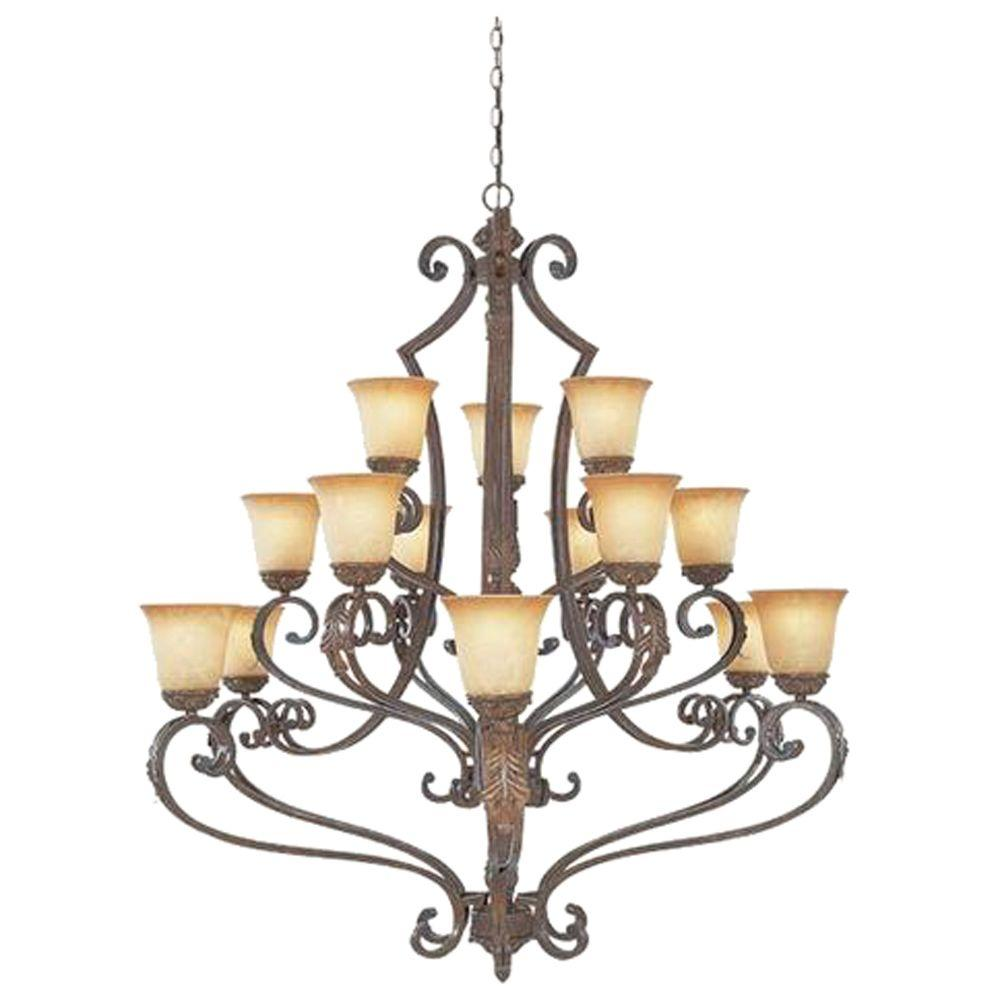 Designers Fountain Colmar Collection 15-Light Venetian Bronze Gold Hanging