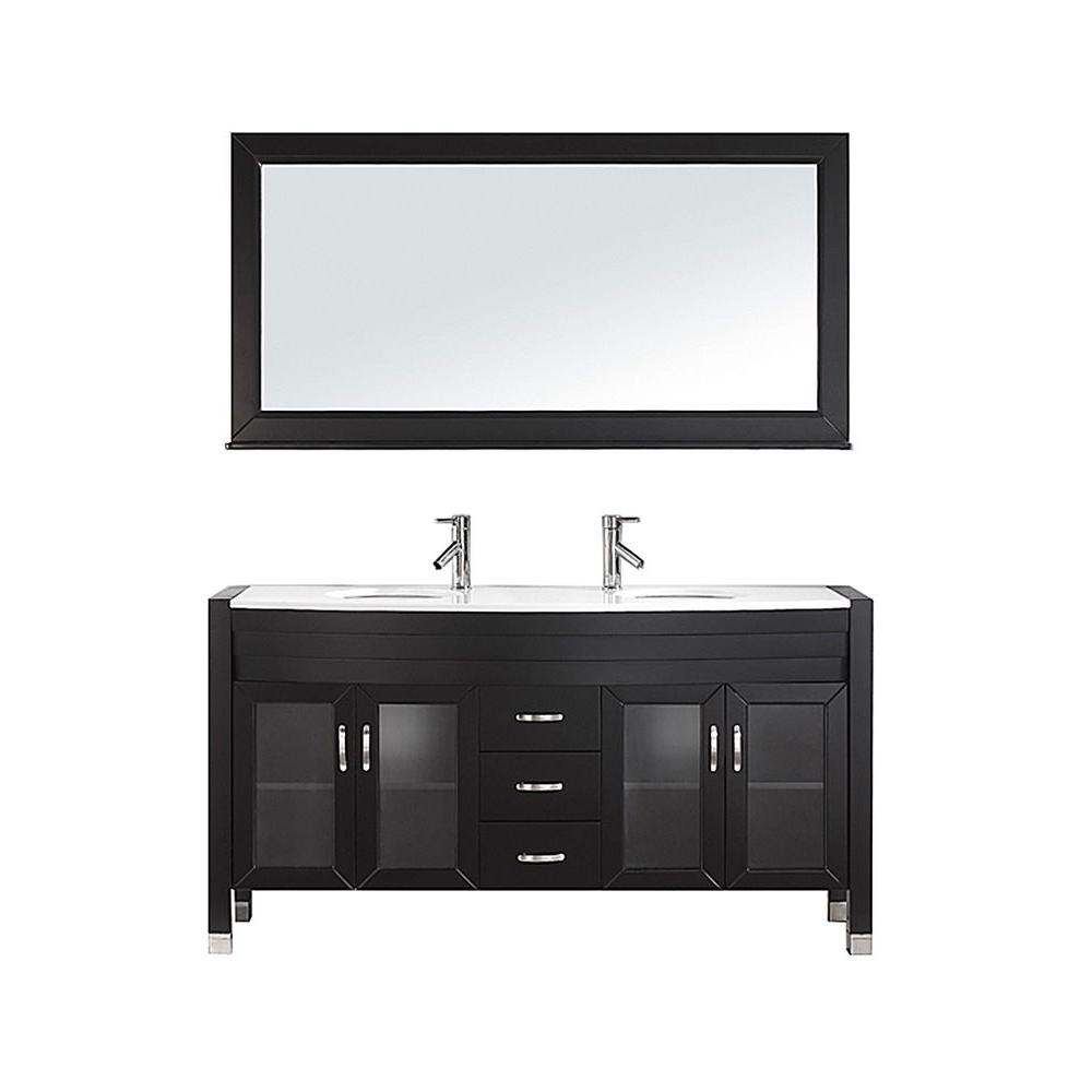 Virtu USA Ava 62.6 in. W x 22 in. D Vanity in Espresso with Stone Vanity Top in White with White Round Basin and Mirror