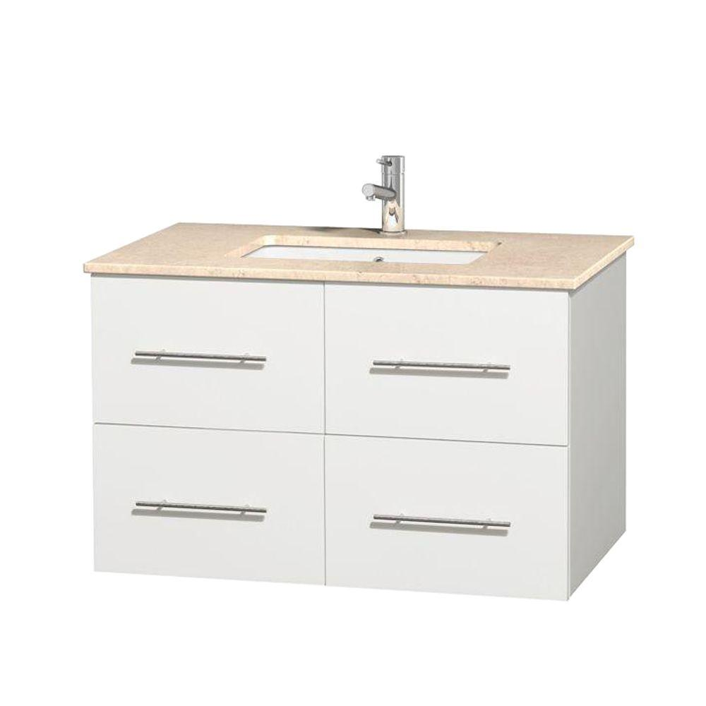 Wyndham Collection Centra 36 in. Vanity in White with Marble Vanity Top in Ivory and Undermount Square Sink
