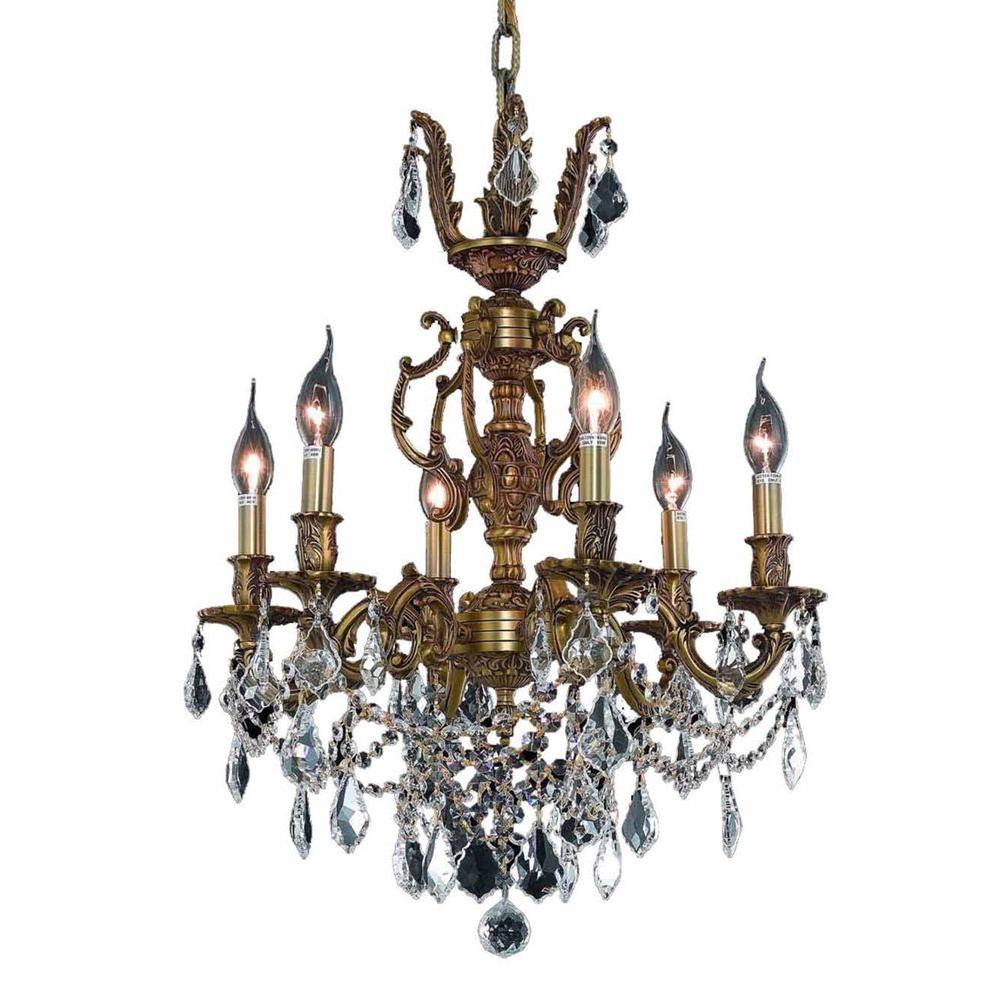 6-Light French Gold Chandelier with Clear Crystal