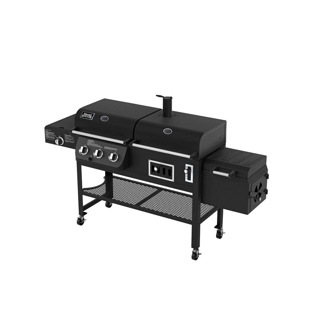 smoke hollow dual function propane gas charcoal grill with. Black Bedroom Furniture Sets. Home Design Ideas