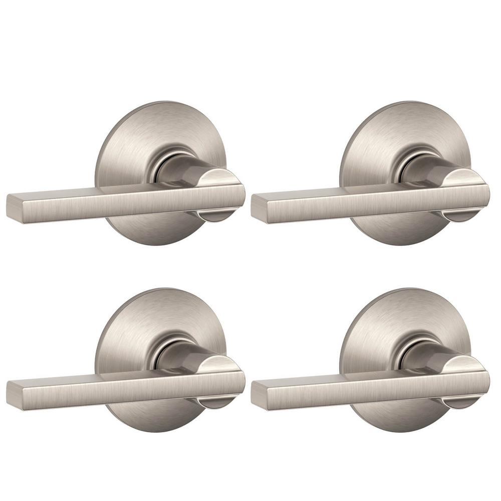 Latitude Satin Nickel Hall and Closet Lever (4-Pack)