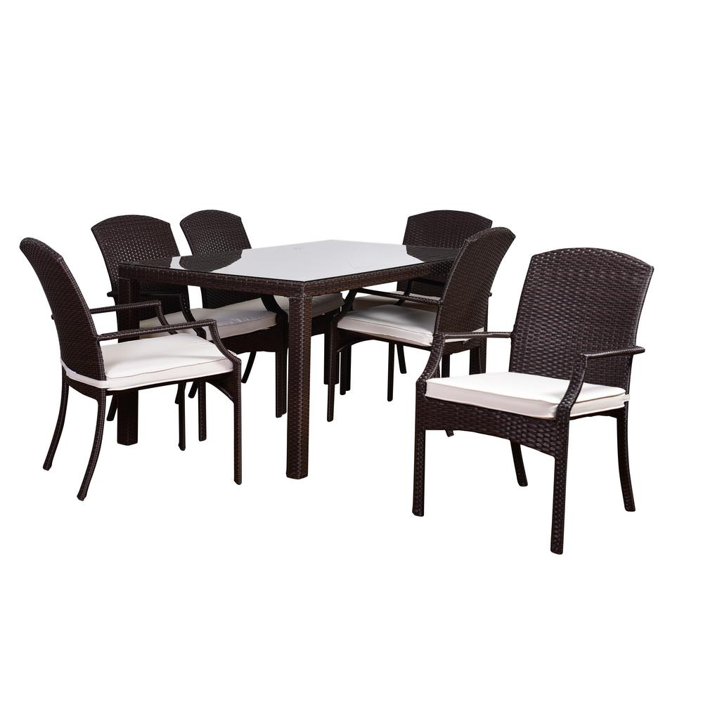 Atlantic Sanibel 7-Piece Rectangular Synthetic Wicker Patio Dining Set with