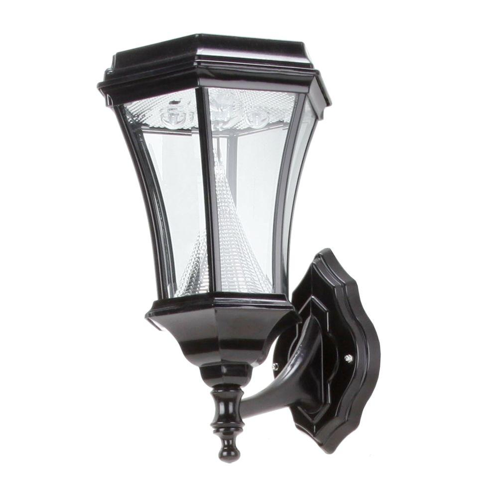 Gama Sonic Victorian 15 in. Wall Mount Outdoor Black 6 LED Solar Lamp-DISCONTINUED