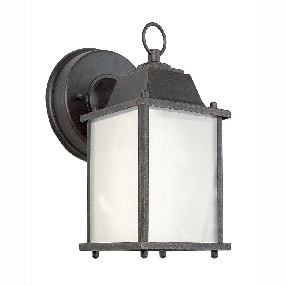Bel Air Lighting 1-Light Rust Outdoor Wall Coach Lantern with Frosted