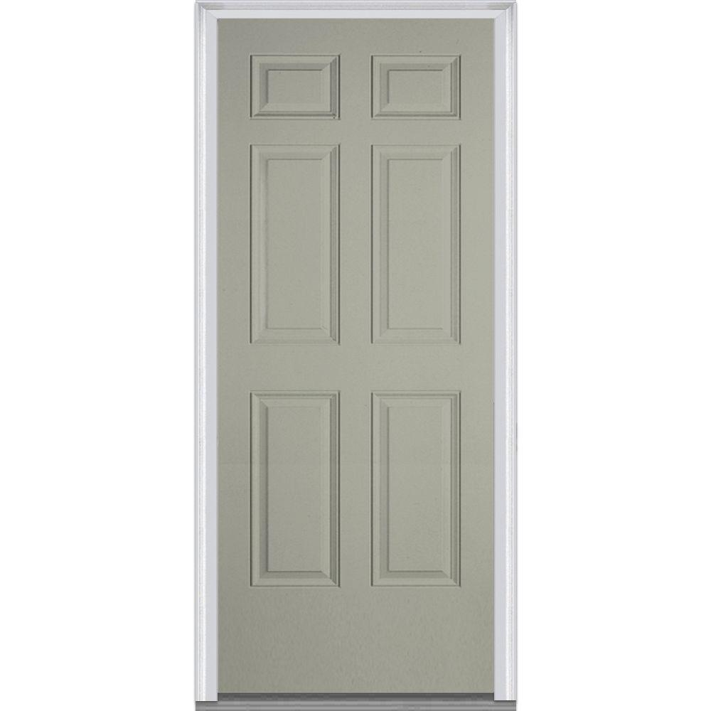 Milliken Millwork 32 in. x 80 in. 6-Panel Painted Fiberglass Smooth