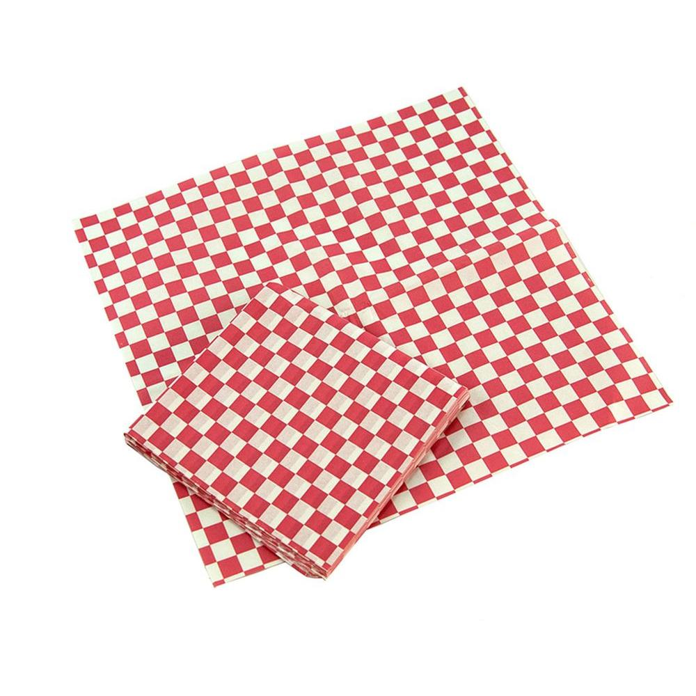 Red and White Checkered Wax Coated Basket Liners (24-Pack)