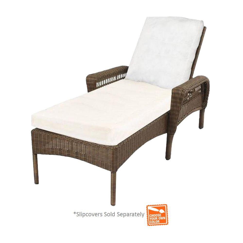 Hampton Bay Spring Haven Grey Wicker Patio Chaise Lounge with Cushion Insert