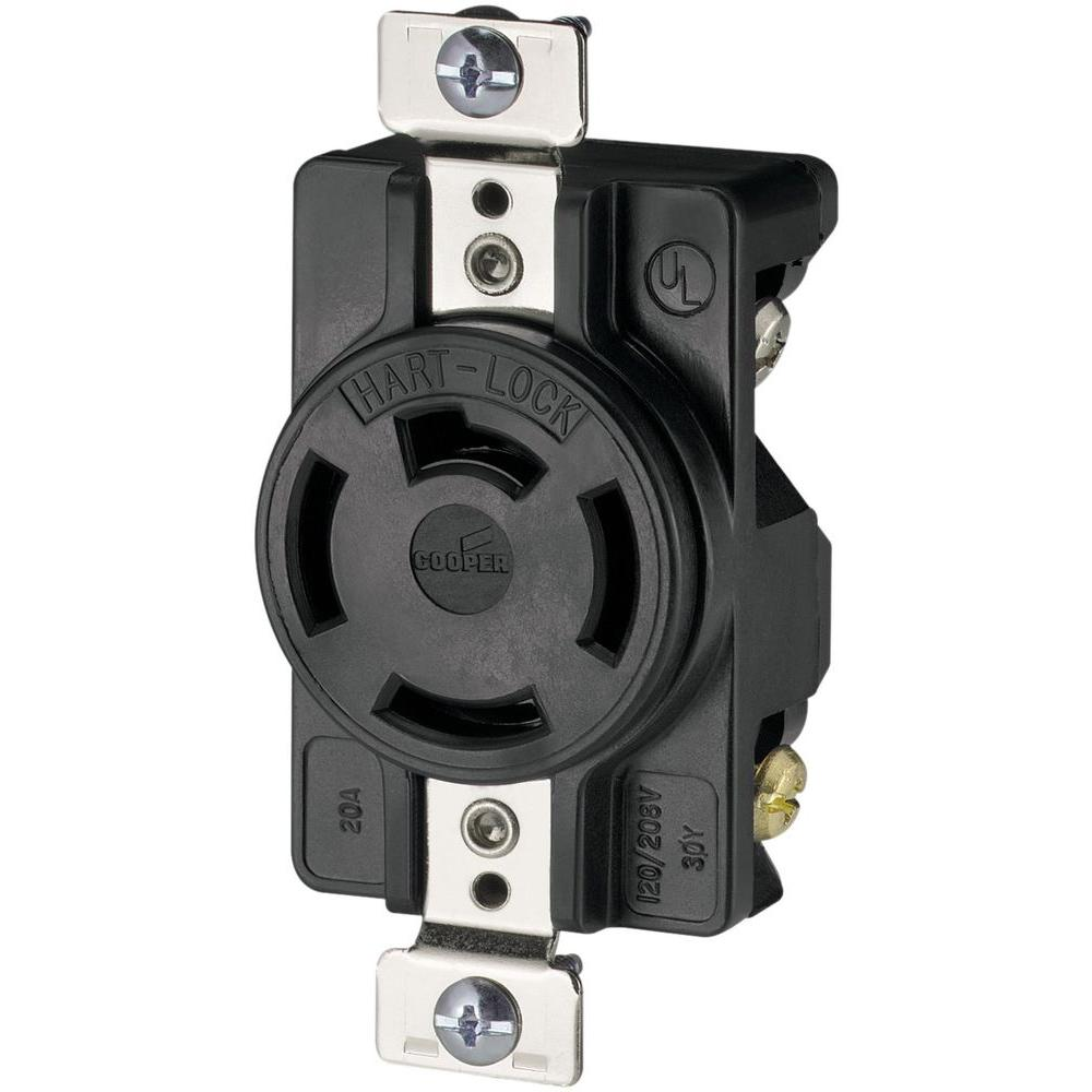20 Amp 120/208-Volt 4-Pole/4-Wire Industrial Receptacles