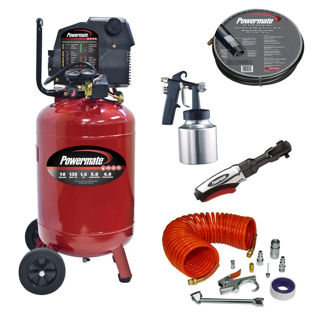 Powermate 10 Gal. Portable Vertical Air Compressor with Accessories