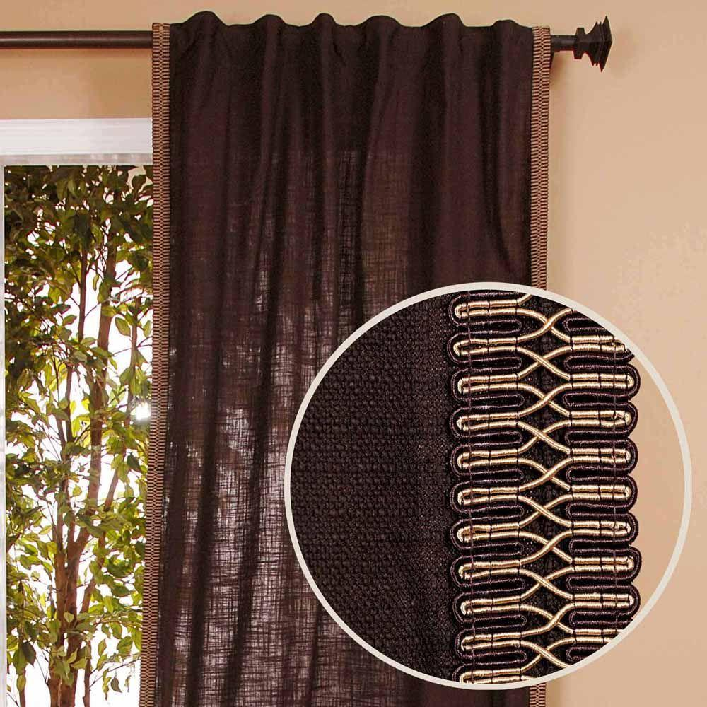 Home Decorators Collection Semi-Opaque Chocolate Back Tab Curtain