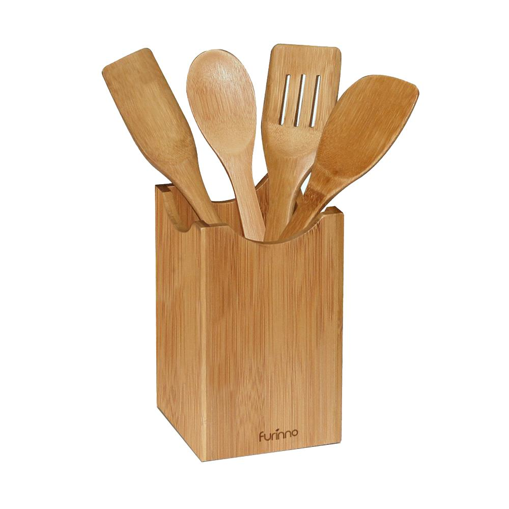 DaPur Bamboo Kitchen Utensil with Square Holder (Set of 5)