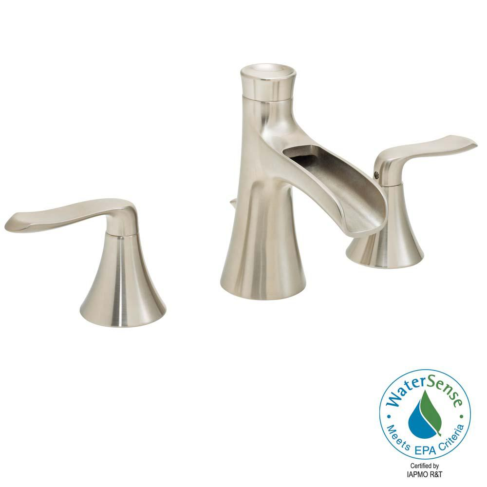Speakman Caspian 8 in. Widespread 2-Handle Bathroom Faucet in Brushed Nickel, Polished Chrome