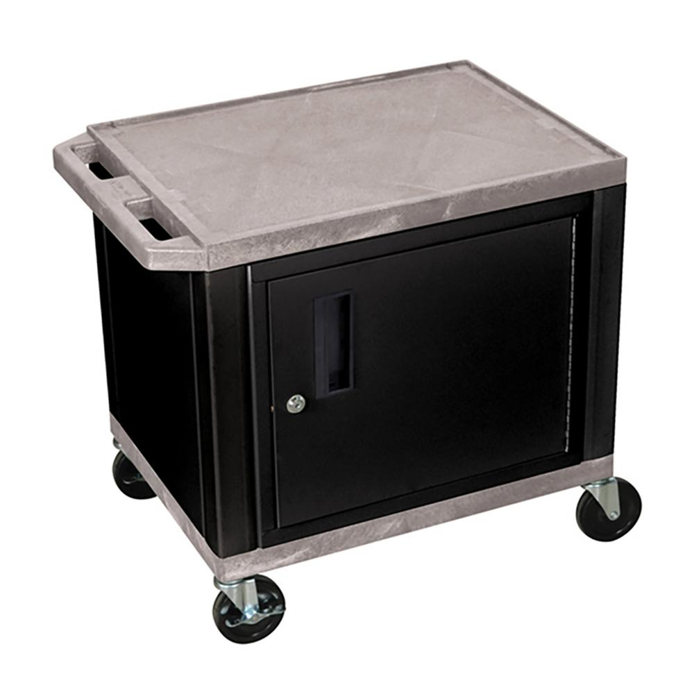WT 26 in. A/V Cart with Black Cabinet, Gray Shelves