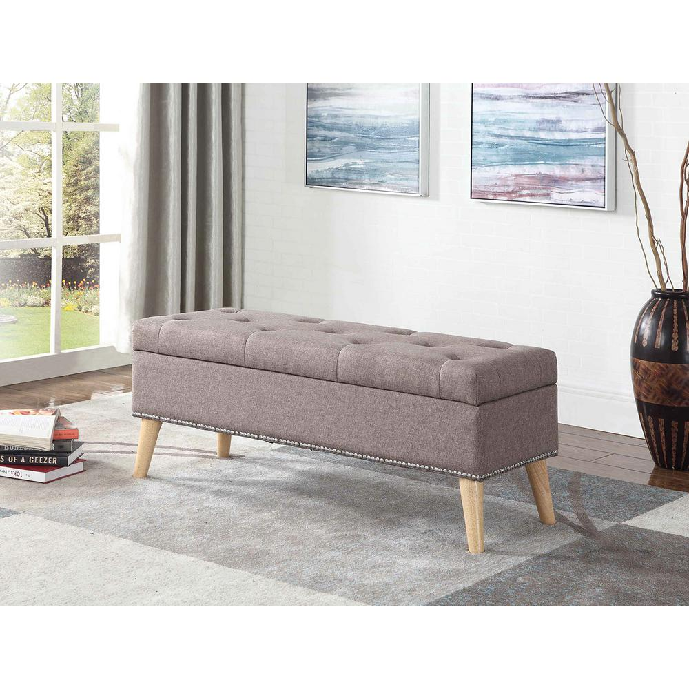 17 in. Grey Mid-Century Tufted Bench with Storage