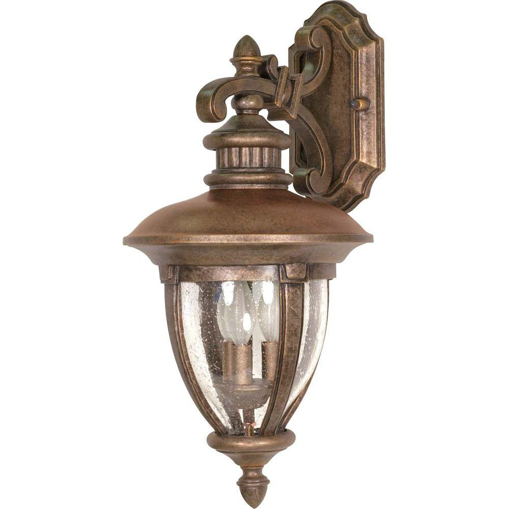 Glomar Galeon 3-Light 24 in. Wall Lantern Arm Down with Clear Seed Glass finished in Platinum Gold-DISCONTINUED
