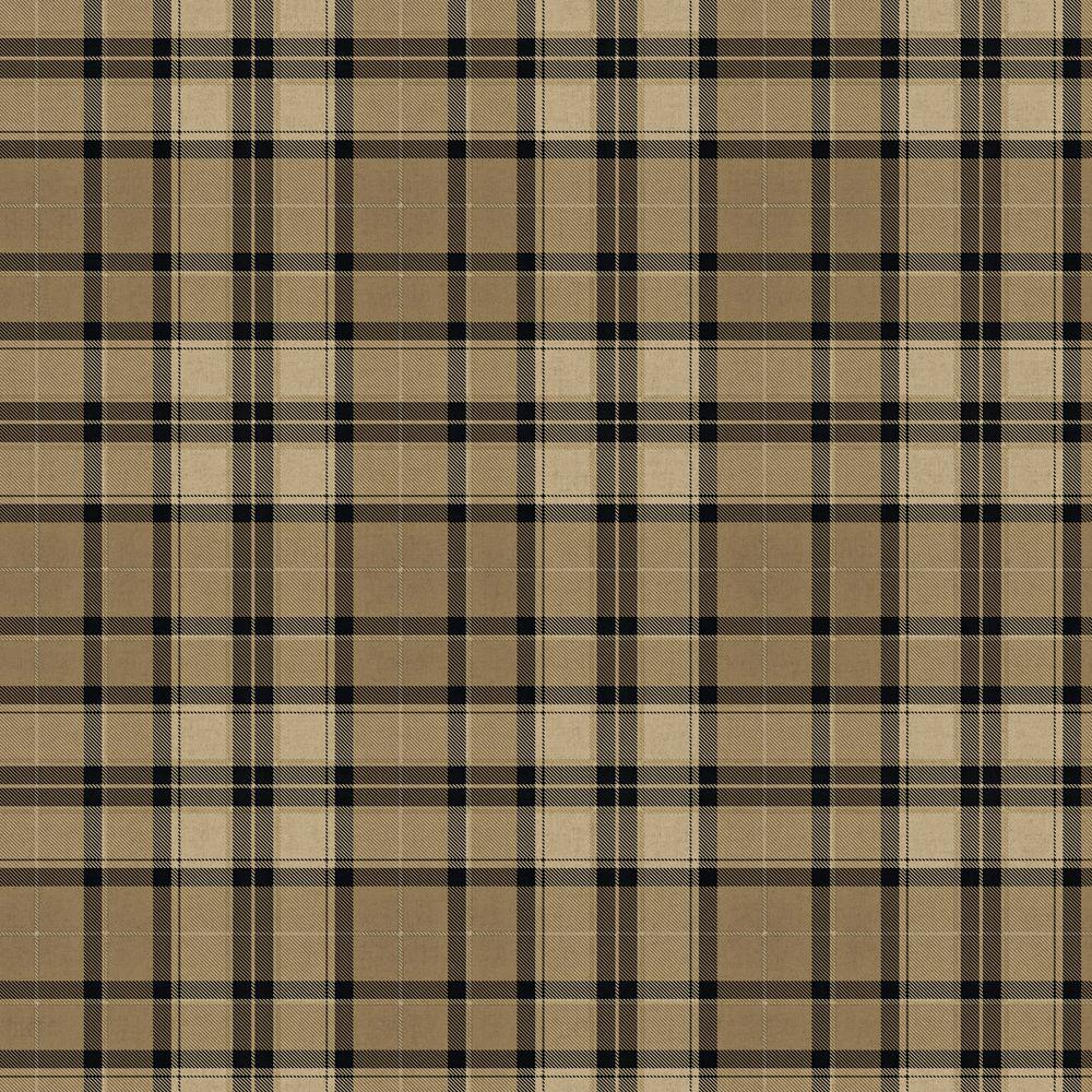 The Wallpaper Company 56 sq. ft. Black and Tan Fabric Plaid Wallpaper