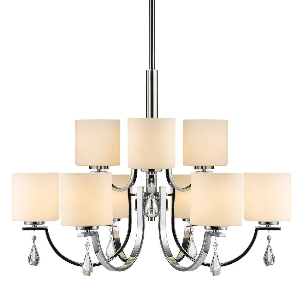 Evette 9-Light Chrome Chandelier with Opal Glass Shade