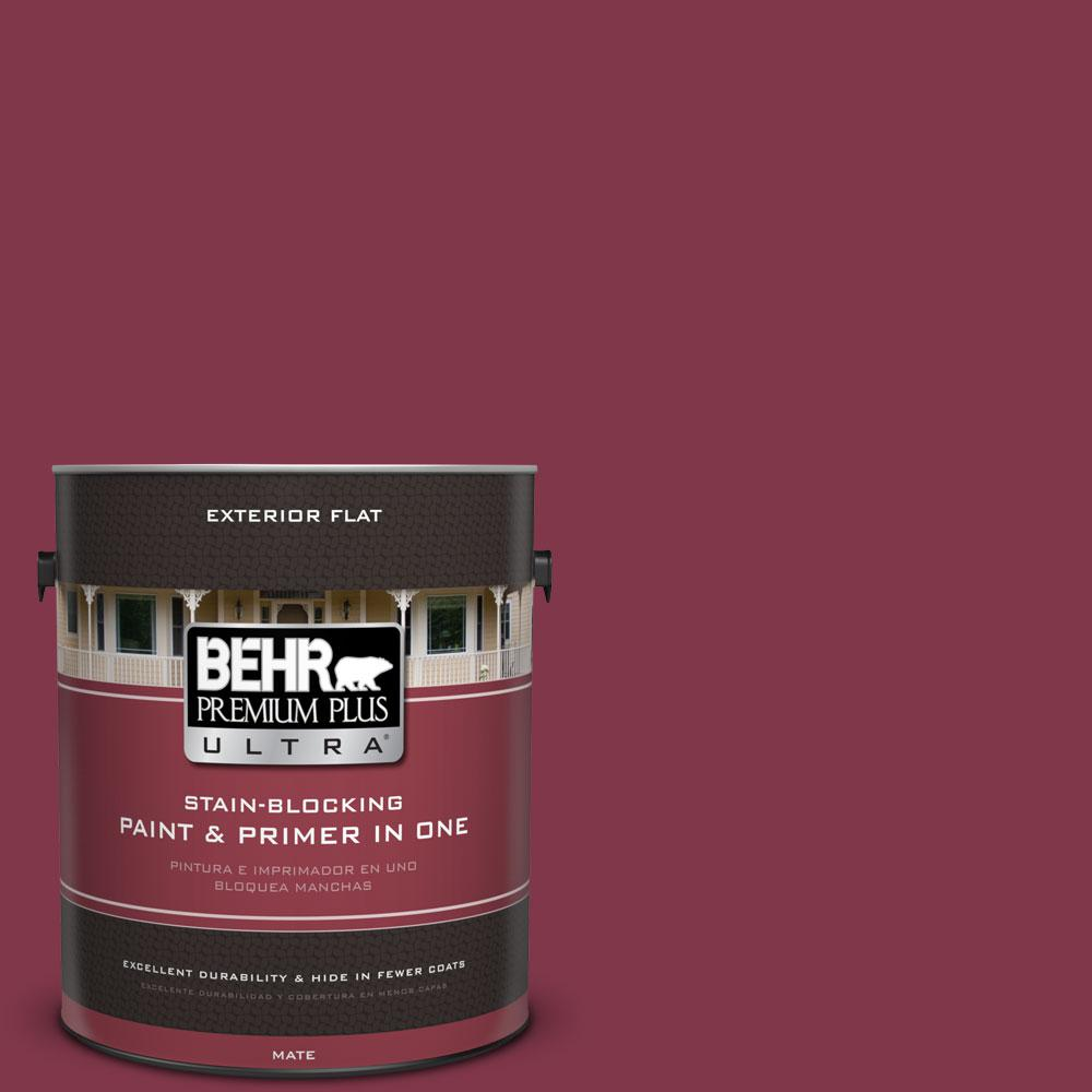 BEHR Premium Plus Ultra 1-gal. #120D-7 Ruby Red Flat Exterior Paint-485301