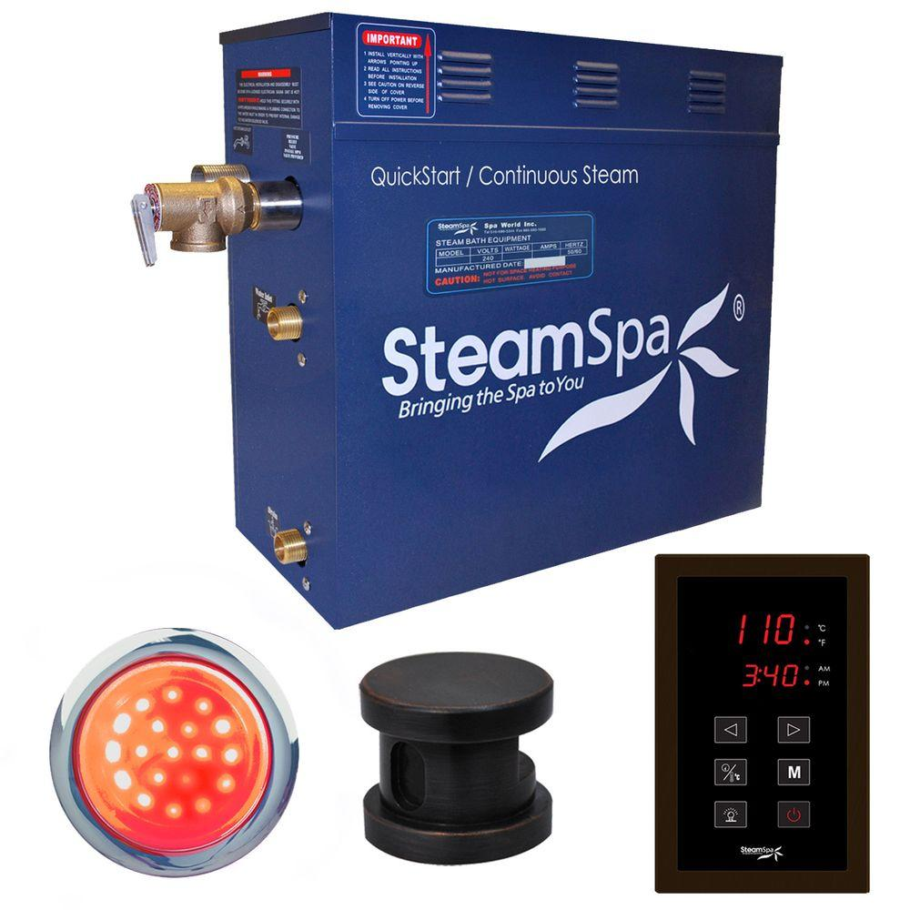 Indulgence 9kW QuickStart Steam Bath Generator Package in Polished Oil Rubbed