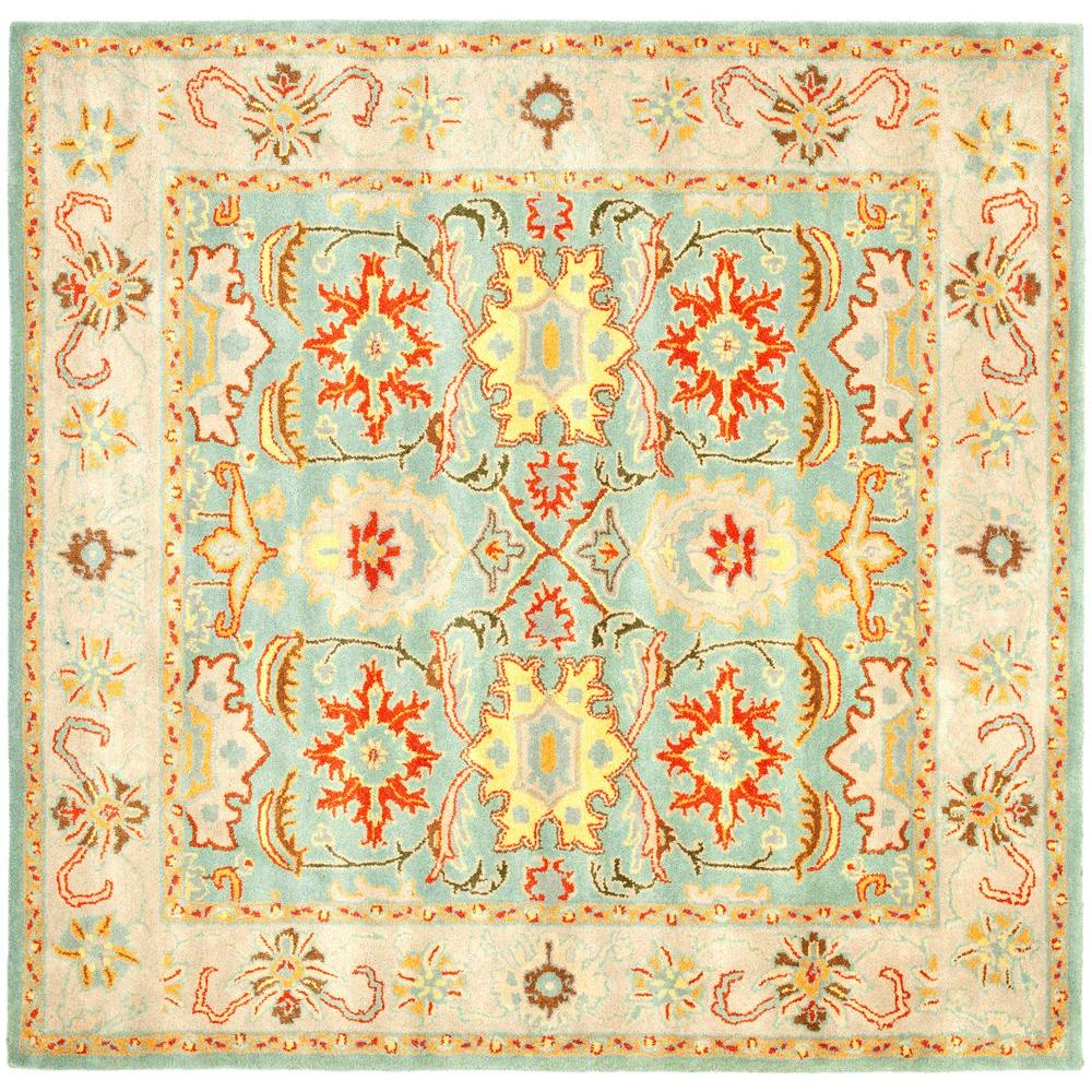 Heritage Light Blue/Ivory 4 ft. x 4 ft. Square Area Rug
