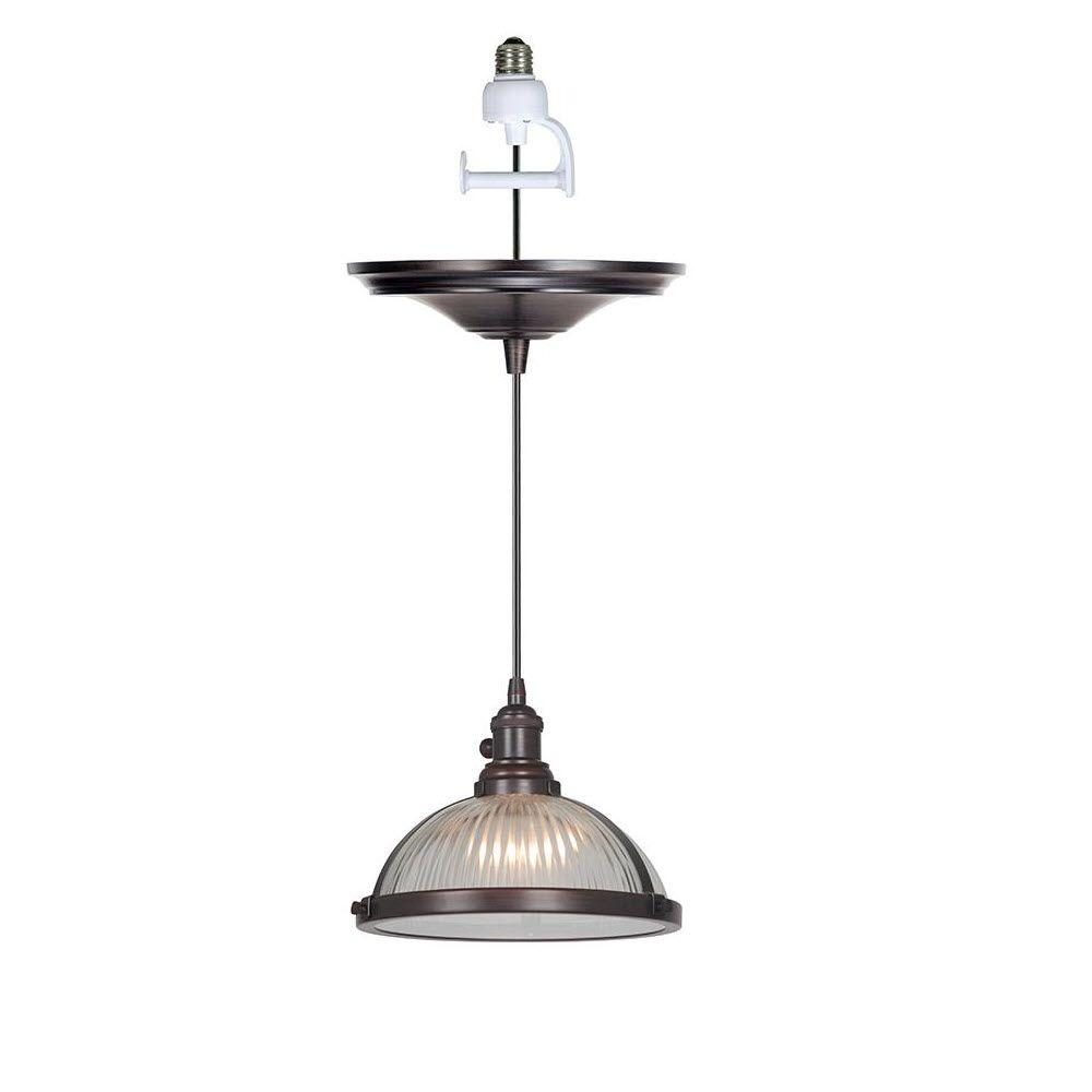 Home Decorators Collection Hampton 1-Light Polished Bronze Instant Pendant with