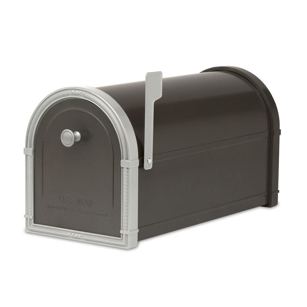 Architectural Mailboxes Bellevue Black Post-Mount Mailbox-5501B - The Home Depot