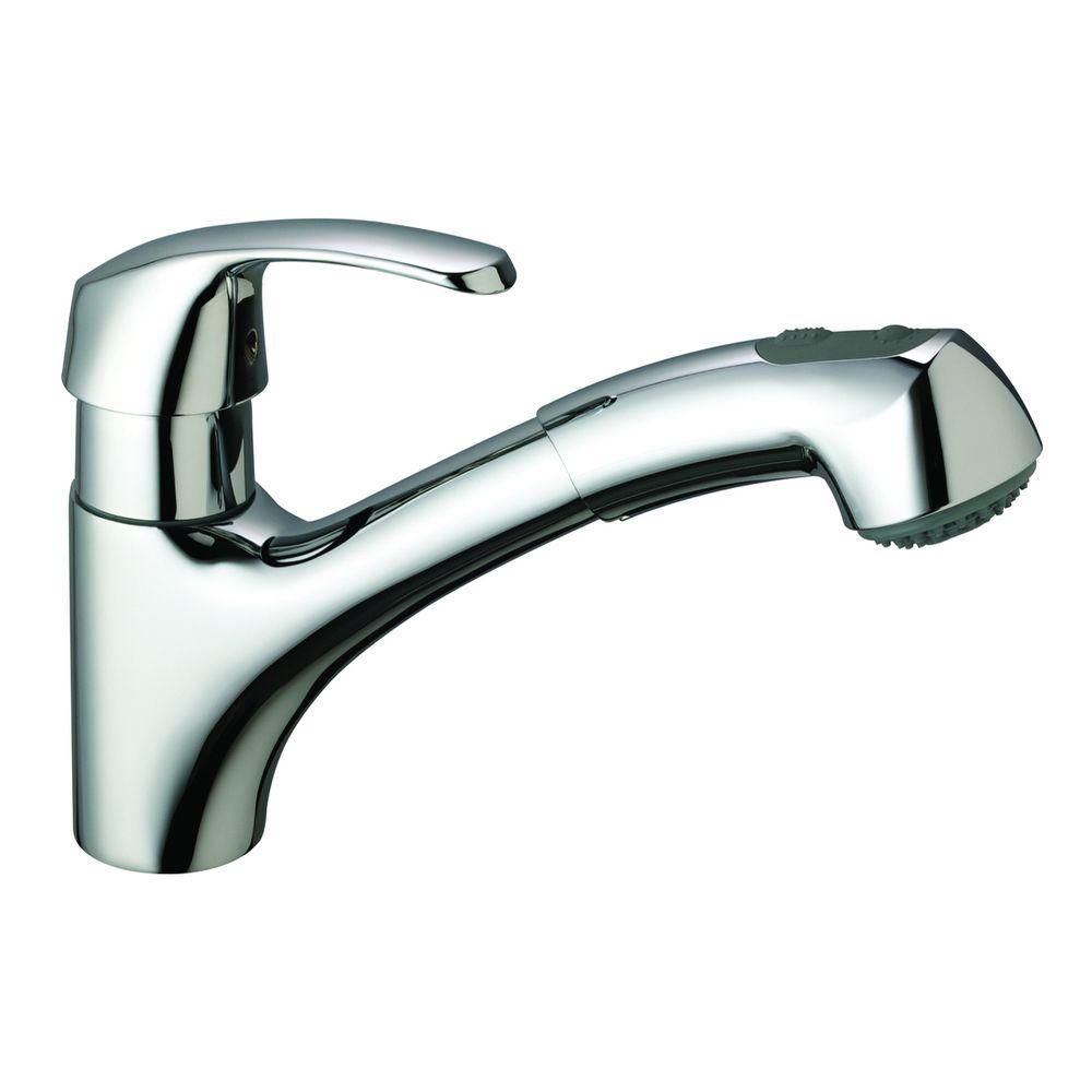 GROHE Alira Pull-Out Dual Sprayer Kitchen Faucet in Starlight Chrome with 1.5gpm Water Care
