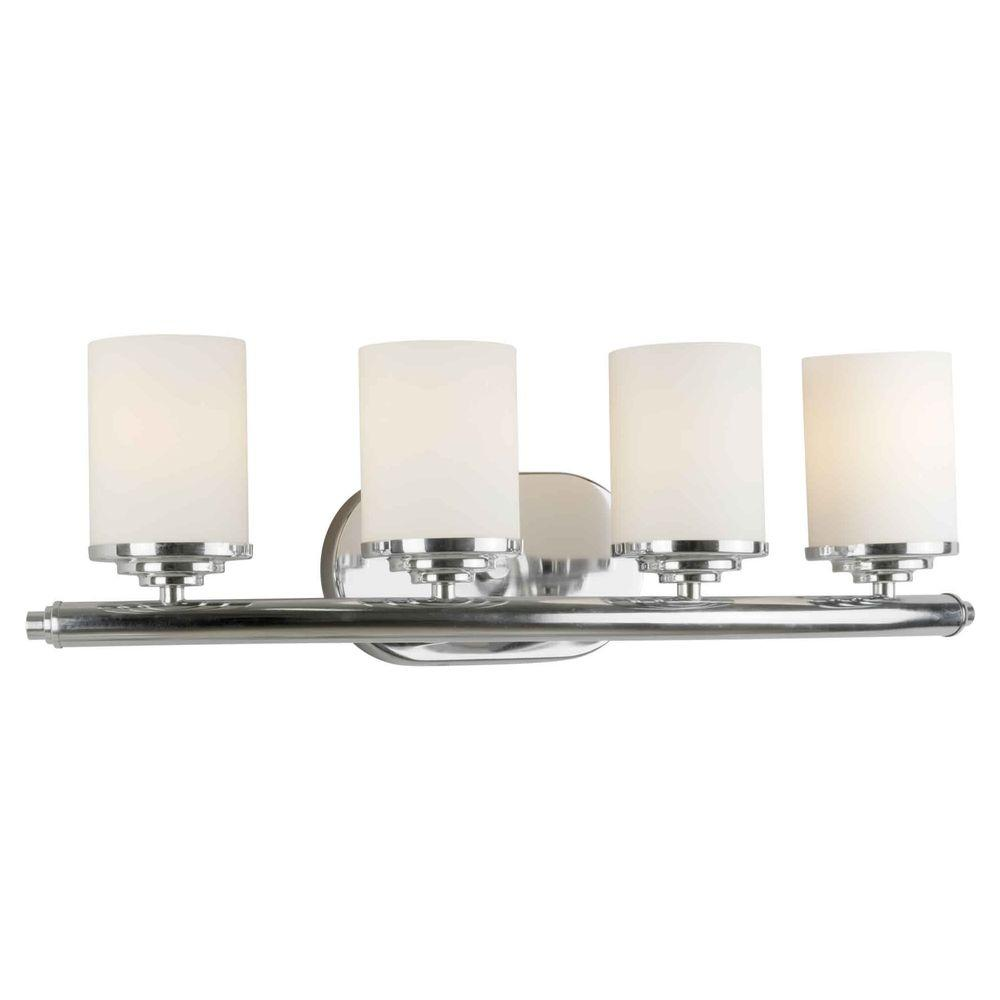 Oralee 4-Light Chrome Bath Vanity Light with Satin Opal Glass