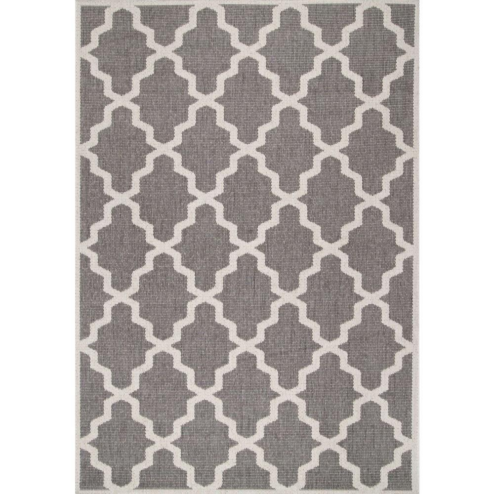 Gina Moroccan Trellis Grey 6 ft. 3 in. x 9 ft. 2 in. Outdoor Area Rug