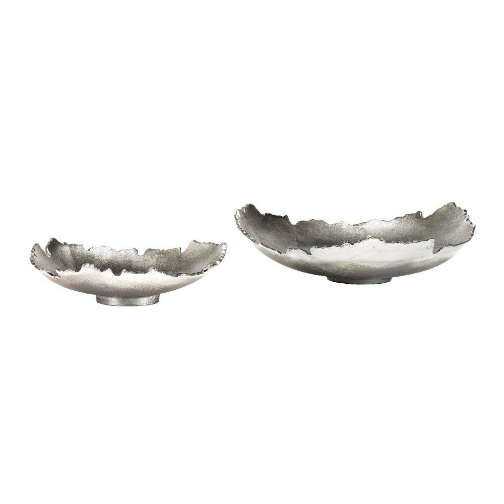 Home Decorators Collection Bark 3.5 in. H x 12.5 in. D Silver Large Bowl (Set of 2)