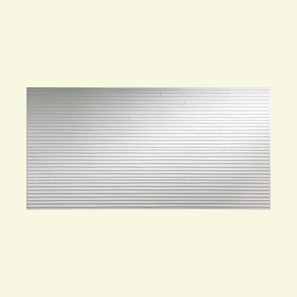 PVC Wall Tiles: Fasade Building Materials Bamboo 96 in. x 48 in. Decorative Wall Panel in Matte White, Whites S59-01