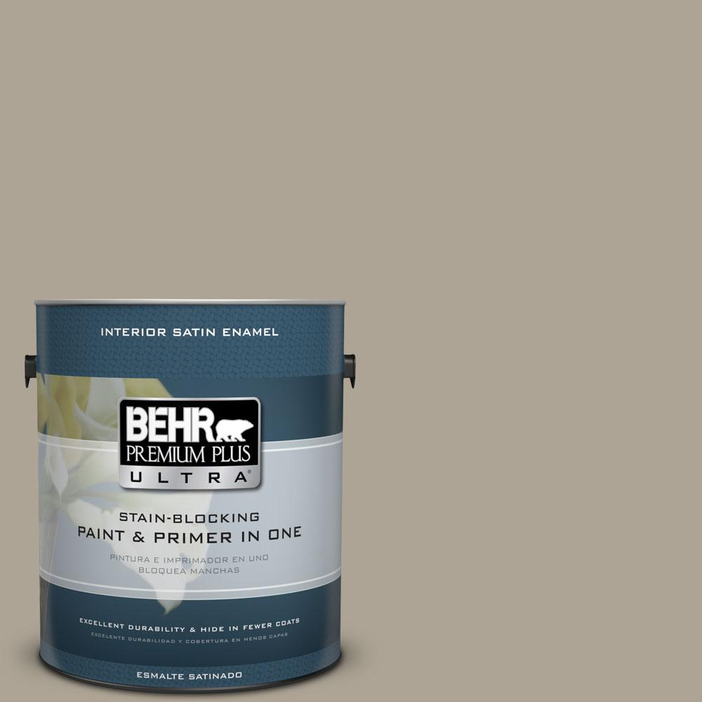 BEHR Premium Plus Ultra Home Decorators Collection 1-gal. #HDC-NT-14 Smoked Tan Satin Enamel Interior Paint