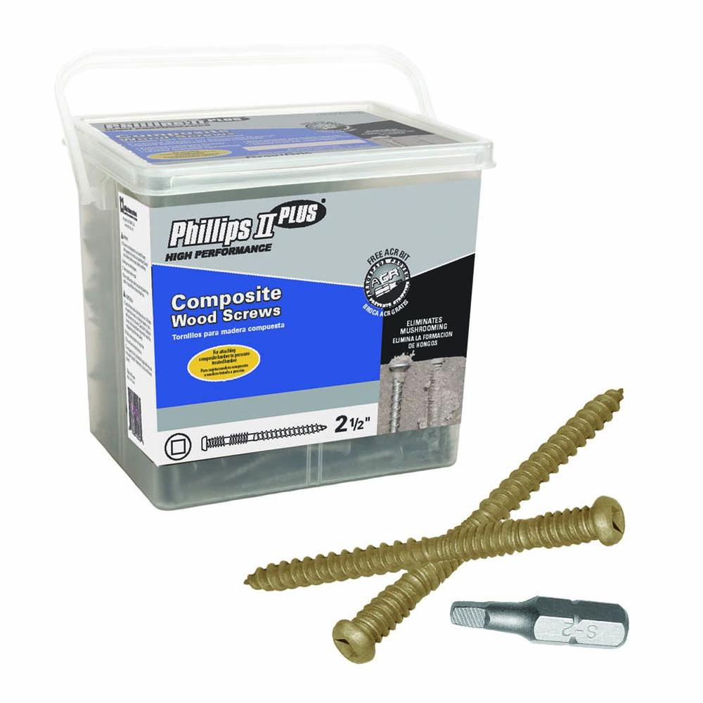 Phillips II Plus #10 2-1/2 in. Internal Square Button-Head Composite Deck Screws (5 lb.-Pack)