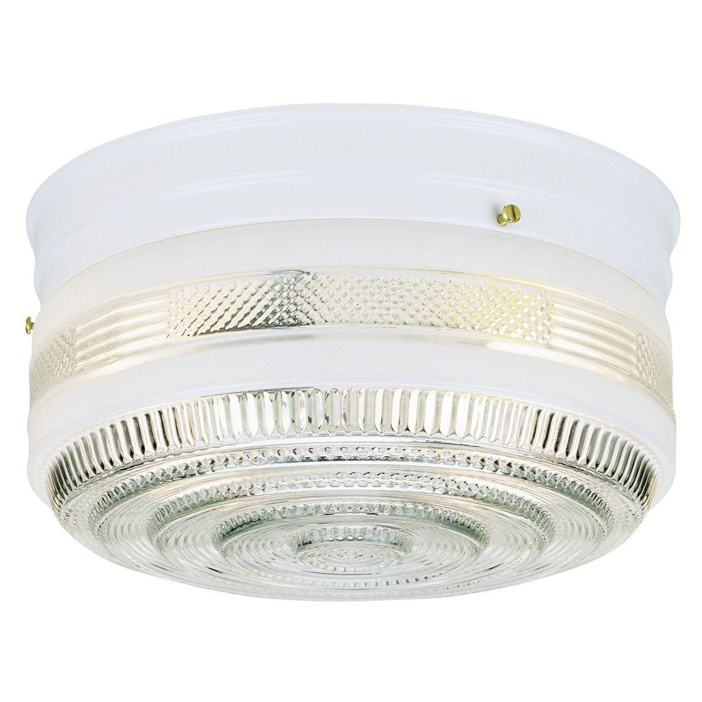2-Light Ceiling Fixture White Interior Flush-Mount with White and Clear Glass
