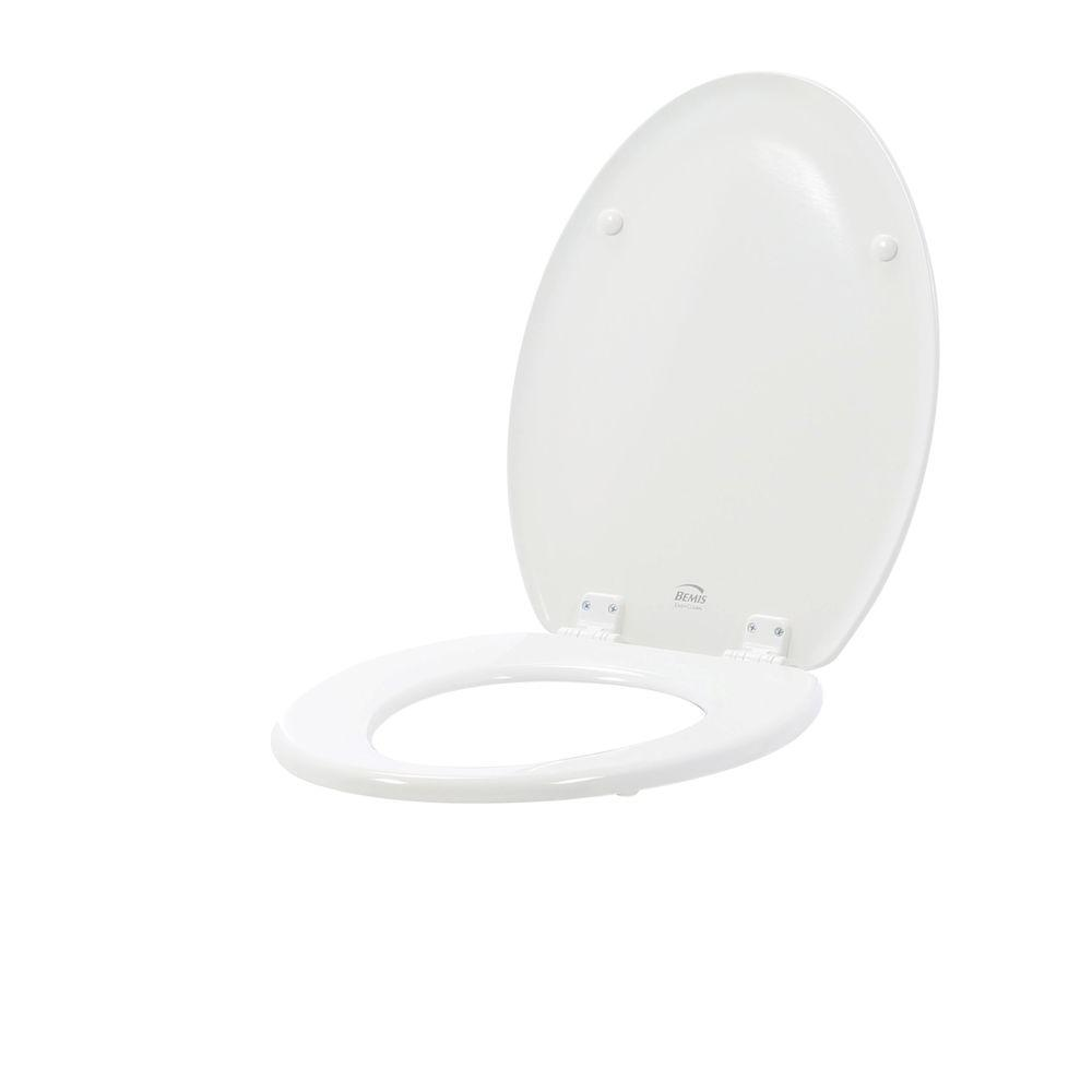 Lift-Off Never Loosens Elongated Closed Front Toilet Seat in White
